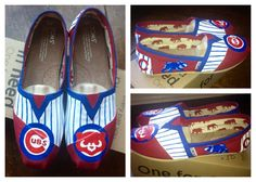 Custom Hand Painted Chicago Cubs Baseball TOMS Shoes. $95.00, via Etsy.