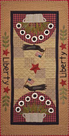 Primitive Folk Art Quilt Pattern - Liberty Applique Quilt Pattern