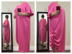 Gorgeous pink asymmetrical dress with crew neck & loose ruffled sleeves. It's formless, bright & comfortable.  Buy now at https://www.etsy.com/ca/shop/ClassyGiselleLauren?ref=hdr_shop_menu