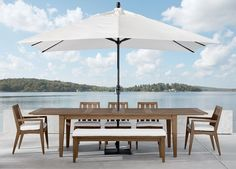 More table, more party! Our extendable rectangular teak outdoor dining table, part of our Bridgewater Cove collection, expands easily thanks to two leaves. Teak Dining Table, Outdoor Dining Chairs, Outdoor Decor, Contemporary Patio, Outdoor Armchair, Patio Bench, Extension Dining Table, Enjoy Summer, Ethan Allen