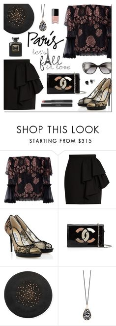 """""""I Love PARIS in the Fall"""" by sjkdesign ❤ liked on Polyvore featuring Alexis, Yves Saint Laurent, Jimmy Choo, Chanel, Gigi Burris Millinery, Pomellato and Versace"""