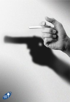 This neat ad is basically telling the readers that cigarettes kill; If we were to use this ad in the yearbook, it would be to keep the students aware of how smoking kills. Creative Advertising, Advertising Design, Marketing And Advertising, Guerilla Marketing, Advertising Campaign, Contextual Advertising, Guerrilla Advertising, Advertising Ideas, Advertising Poster
