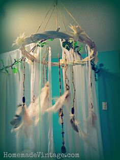 Large Boho Feather Chandelier Craft DIY Vintage Native Look Decorating Decor Craft. Learn How to Here!
