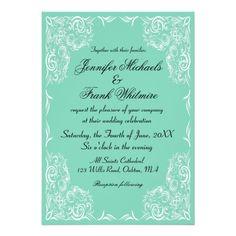 Lovely Lace Frame Aqua Wedding
