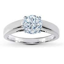 Jared 14K White Gold Solitaire Ring Setting.  A bold beveled-edge 3mm band lends contemporary style to this ring setting for her. Crafted in 14K white gold. Diamond sold separately.