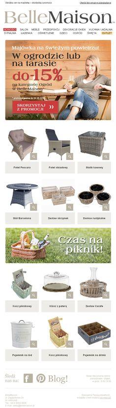 Spędź majówkę na świeżym powietrzu - zadbaj o wygodę / Projekt newslettera przygotowany dla sklepu BellemMaison.pl / https://panel.sendingo.pl/kampania/5z0 / #newsletter #email #theme