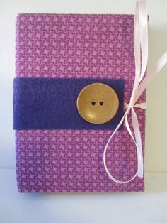 Purple and Pink Pattern with Large Brown Button by TheElegantLady