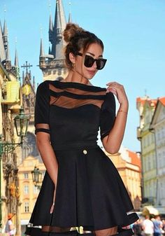 """Giulia Gaudino wearing dress """"Hyde"""", with see-through effect, available on our shop online"""