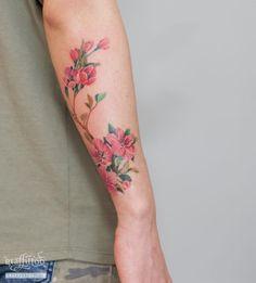 Cherry Tattoo by tatuyiseuteu River. Cherry blossom tattoo. Flower. arm. color. Cherry Blossom. Tattoo. Per tattoos