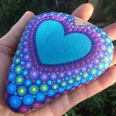 I have special plans for this one. Anybody want to guess what it's going to say? Dot Art Painting, Heart Painting, Rock Painting Designs, Pebble Painting, Pebble Art, Stone Painting, Mandala Painted Rocks, Painted Rocks Craft, Mandala Rocks