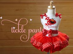 Hey, I found this really awesome Etsy listing at https://www.etsy.com/listing/174433107/elmo-birthday-tutu-collection-red-polka