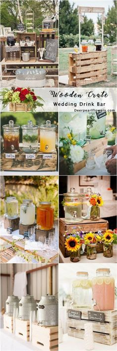 Rustic country wooden crate wedding drink stand ideas / http://www.deerpearlflowers.com/rustic-woodsy-wedding-trend-2018-wooden-crates/ #rusticweddings #countryweddings