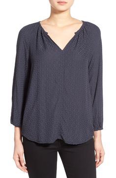 Velvet by Graham & Spencer Jacquard Split Neck Blouse