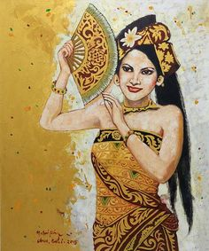 Original Portrait in Oils of a Balinese Dancer - Beautiful Woman   NOVICA