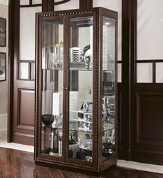 American Drew Miramar Glass Curio Display Cabinet in Auburn finish with Dentil Moulding *** More info could be found at the image url.