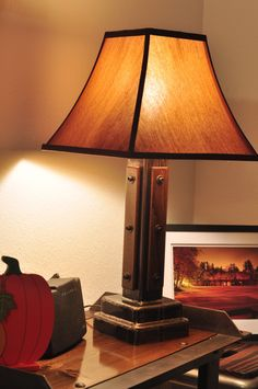 Pair Of Industrial Table Lamps With Wooden Accents