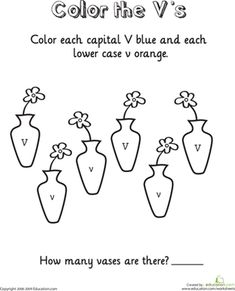 ... Color by Number Letter V Worksheets: Learning the Letter V Worksheet