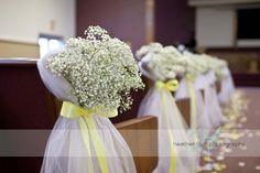 babies breath pew flowers chair decor wedding flowers http://www.sophisticatedfloral.com/