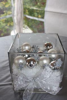 Centerpieces- Mini ornaments & snow in square vases | Christmas Joy