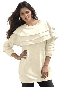 Plus Size Tiered Ruffle Sweatshirt image