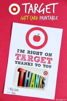 Printable Target gift card holder for teachers | bitz and giggles