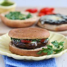 Grilled Portobello Mushroom Burgers with Chimichurri Sauce, a fantastic vegetarian entree.