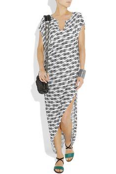 Thakoon Addition|Printed draped jersey maxi dress|NET-A-PORTER.COM