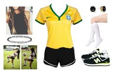 #LikeAGirl - Girls Can Do It (Football Jersey Series - Brazil NT) by teodoramaria98 on Polyvore featuring polyvore fashion style Boohoo DKNY New Balance Kate Spade clothing likeagirl