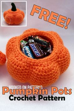 Free Pot Crochet Pattern - Free Crochet Patterns Pumpkin Pots - It you're looking for a fun place to hide your sweets, or a fun gift, check out this free Halloween crochet pattern. #freecrochet #crochet #crochetpatterns #yarn #lovecrochet #crafts #diy #hobbies #hookedonpatterns #pots #handmade #giftideas