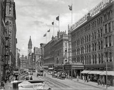 Shorpy Historical Photo Archive : Market Street at Eighth in Philadelphia circa 1905, with the Lit Brothers building at right. Detroit Publishing Company glass negative. View full size.