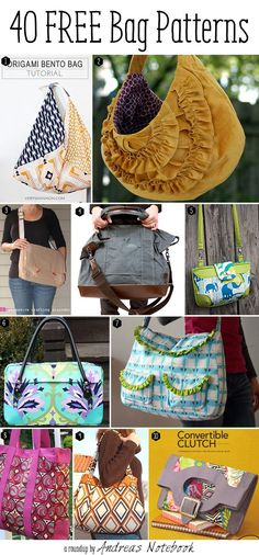 I've found 40 free bag pattern tutorials that I love! There is a free bag pattern for any sewing level.  10 free bag patterns you'll love: Origami Bento Bag by Very Shannon The Grandview Bag b...
