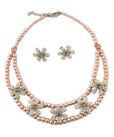Another great find on #zulily! Pink Floral Bead Necklace & Earring Set by Vintage Addiction #zulilyfinds