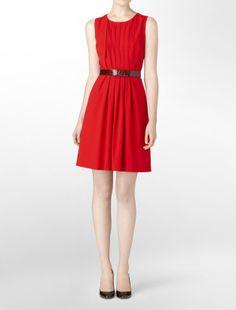 belted luxe pleat detail dress - dresses- Calvin Klein