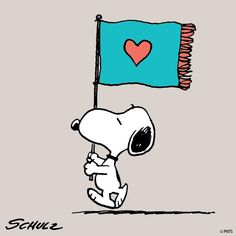 """Snoopy carrying the Flag of LOVE, ❤️❤️; Imagery by Iago when he said he will show a flag with the sign of """"love"""" but it is just a sign and holds no meaning to him. """"I must show out a flad and sign of love -- which is indeed but sign."""" (Act 1 Sc. 1 - lines 173 - 174)"""
