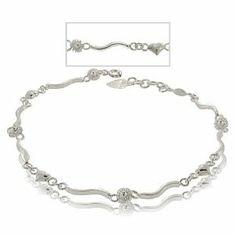 Sterling Silver Anklet Hearts Flowers Patterned Design GemAffair. $72.99