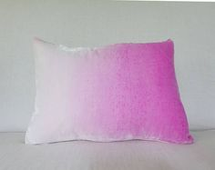 Pale blush pink to Rose pink hand0painted velvet pillow cover
