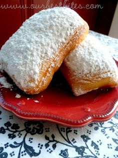 Beignets - not only delicious, but they are so easy, the dough can be made the night before and refrigerated, and they only require one short rise. ... #Mother's Day #dessert