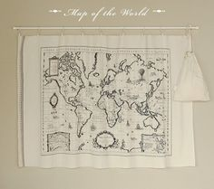 Cotton linen fabric  Map of the world  Handmade on show by cloth2u, $9.00