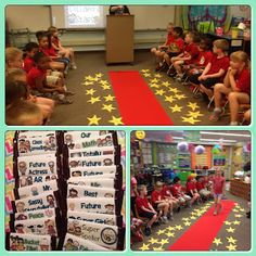 End of the Year Ideas. Teacher does a mini speech on each student before they walk the red carpet to collect a special award.