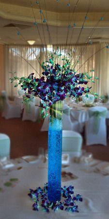 best wedding decor with blue orchids - Google Search
