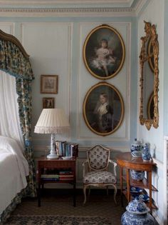 "The ""Blue Bedroom"" at Badminton House by interior designer Vivien Greenock in British HG March 2014."