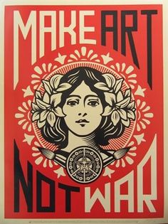 figure, woman, floral, typography, frame, graphic design, pattern. Peace Girl by Shepard Fairey