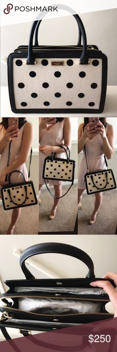Kate spade lise Brand new with tag in Black and cream poka dot and comes with adjustable shoulder strap and gold hardware!! 100% authentic kate spade Bags Crossbody Bags