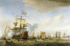 Willem van de Velde the Younger, c. 1665 - - - The council-of-war on board the Eendracht on 24 May 1665