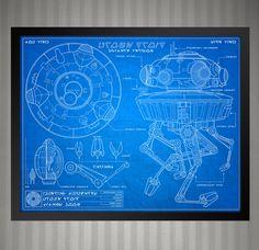 Star Wars Blueprint Style - Probe Droid: 8 x 10 print by KnerdKraft on Etsy
