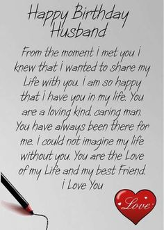 Super Birthday Wishes For Husband Quotes Messages Ideas Happy Birthday Love Quotes, Romantic Birthday Wishes, Happy Birthday For Him, Happy Birthday Husband Romantic, Romantic Words For Husband, Best Happy Birthday Message, Happy Anniversary To My Husband, Special Birthday Wishes, Birthday Surprises