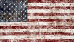 Rustic American Flag Painting Navy Deep Red by TifSheppardFineArt, $65.00