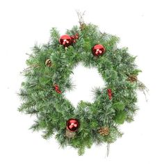"""24"""""""" Pre-Decorated Mixed Pine Artificial Christmas Wreath - Unlit"""
