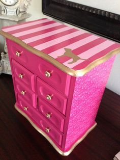 Victoria's Secret pink table with drawers.
