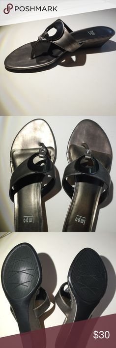 Impo Pewter Sandals Thong sandal. Cute, comfortable and pewter adorned with brushed silver metallic ornaments.  Really cute with jeans, leggings, skirts or shorts.  Classic style lets you decide! Never worn. Buy it today...may not be here tomorrow!! Impo Shoes Sandals